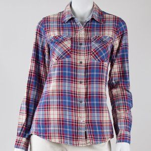 Button-down Shirt in Red, White, and Blue Plaid